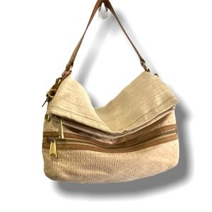 FOSSIL FABRIC AND GENUINE LEATHER SHOULDER BAG